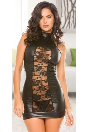 Lace Panel Halter Black Mini Dress Sensual Elegance Fashion, Lingerie and Shoes Women's Sexy Clothing & Lingerie - Clubwear, Plus Size Clothing & Accessories