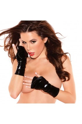 Black Wet Look Fingerless Gloves Sensual Elegance Fashion, Lingerie and Shoes Women's Sexy Clothing & Lingerie - Clubwear, Plus Size Clothing & Accessories