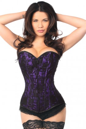 Lavish Purple Lace Overlay Overbust Corset Sensual Elegance Fashion, Lingerie and Shoes Women's Sexy Clothing & Lingerie - Clubwear, Plus Size Clothing & Accessories