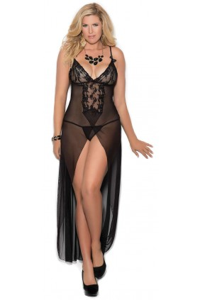 Black Long Mesh Slit Front Gown Sensual Elegance Fashion, Lingerie and Shoes Women's Sexy Clothing & Lingerie - Clubwear, Plus Size Clothing & Accessories