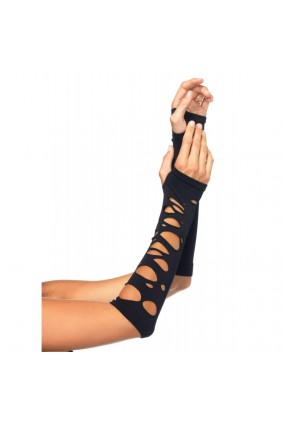 Black Shredded Arm Warmers Sensual Elegance Fashion, Lingerie and Shoes Women's Sexy Clothing & Lingerie - Clubwear, Plus Size Clothing & Accessories