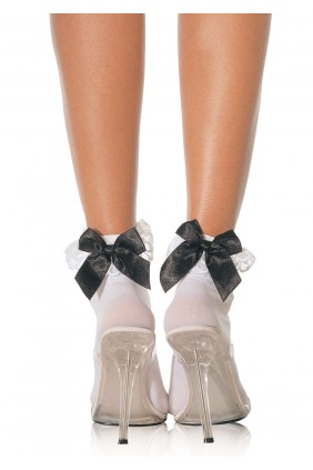 Bow and Lace Ruffle Trimmed Anklet Socks Sensual Elegance Fashion, Lingerie and Shoes Women's Sexy Clothing & Lingerie - Clubwear, Plus Size Clothing & Accessories