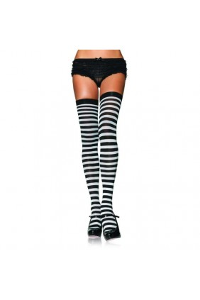 Black White Striped Plus Size Stockings 3 Pack Sensual Elegance Fashion, Lingerie and Shoes Women's Sexy Clothing & Lingerie - Clubwear, Plus Size Clothing & Accessories