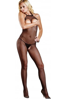 Fishnet Open Bust Bodystocking Sensual Elegance Fashion, Lingerie and Shoes Women's Sexy Clothing & Lingerie - Clubwear, Plus Size Clothing & Accessories