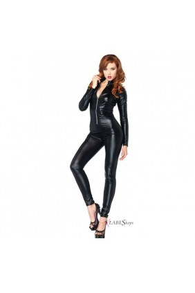 Zipper Front Black Lame Catsuit Sensual Elegance Fashion, Lingerie and Shoes Women's Sexy Clothing & Lingerie - Clubwear, Plus Size Clothing & Accessories