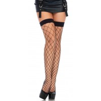 Fence Net Thigh High Stockings - Black