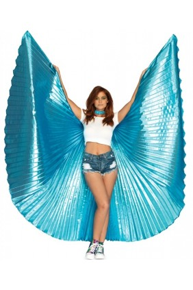 Isis Turquoise Pleated Festival Wings Sensual Elegance Fashion, Lingerie and Shoes Women's Sexy Clothing & Lingerie - Clubwear, Plus Size Clothing & Accessories