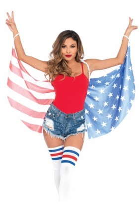 American Flag Stars and Stripes Festival Wings Sensual Elegance Fashion, Lingerie and Shoes Women's Sexy Clothing & Lingerie - Clubwear, Plus Size Clothing & Accessories