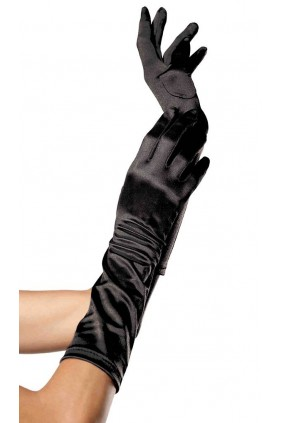 Black Satin Elbow Length Gloves Sensual Elegance Fashion, Lingerie and Shoes Women's Sexy Clothing & Lingerie - Clubwear, Plus Size Clothing & Accessories