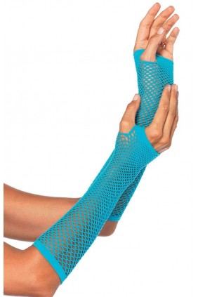 Neon Blue Triangle Net Fingerless Gloves Sensual Elegance Fashion, Lingerie and Shoes Women's Sexy Clothing & Lingerie - Clubwear, Plus Size Clothing & Accessories