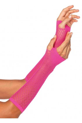 Neon Pink Triangle Net Fingerless Gloves Sensual Elegance Fashion, Lingerie and Shoes Women's Sexy Clothing & Lingerie - Clubwear, Plus Size Clothing & Accessories
