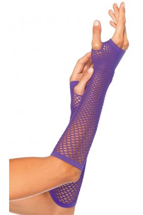 Neon Purple Triangle Net Fingerless Gloves Sensual Elegance Fashion, Lingerie and Shoes Women's Sexy Clothing & Lingerie - Clubwear, Plus Size Clothing & Accessories