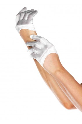 Cropped Satin White Half Glove Sensual Elegance Fashion, Lingerie and Shoes Women's Sexy Clothing & Lingerie - Clubwear, Plus Size Clothing & Accessories