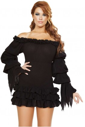 Ruffled Black Gothic Pirate Dress Sensual Elegance Fashion, Lingerie and Shoes Women's Sexy Clothing & Lingerie - Clubwear, Plus Size Clothing & Accessories