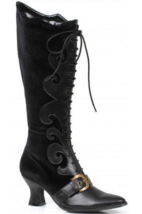 Fain Black Velvet Witches Boot Sensual Elegance Fashion, Lingerie and Shoes Women's Sexy Clothing & Lingerie - Clubwear, Plus Size Clothing & Accessories