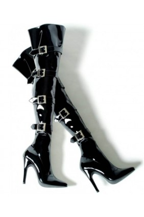 Buckle Up Black Thigh High 5 Inch Heel Boot Sensual Elegance Fashion, Lingerie and Shoes Women's Sexy Clothing & Lingerie - Clubwear, Plus Size Clothing & Accessories