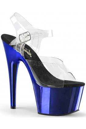 Blue Chrome Platform Clear Strap Platform Sandal Sensual Elegance Fashion, Lingerie and Shoes Women's Sexy Clothing & Lingerie - Clubwear, Plus Size Clothing & Accessories