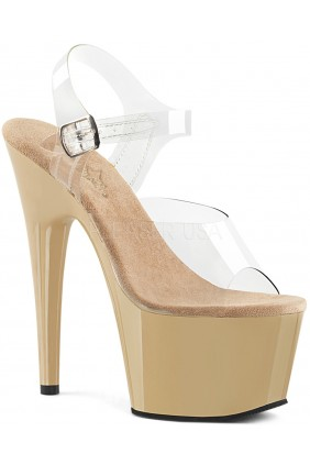 Cream Platform Clear Strap Platform Sandal Sensual Elegance Fashion, Lingerie and Shoes Women's Sexy Clothing & Lingerie - Clubwear, Plus Size Clothing & Accessories