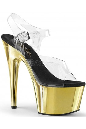 Gold Chrome Platform Clear Strap Platform Sandal Sensual Elegance Fashion, Lingerie and Shoes Women's Sexy Clothing & Lingerie - Clubwear, Plus Size Clothing & Accessories