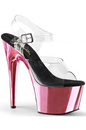 Pink Chrome Platform Clear Strap Platform Sandal Sensual Elegance Fashion, Lingerie and Shoes Women's Sexy Clothing & Lingerie - Clubwear, Plus Size Clothing & Accessories