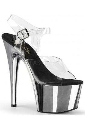 Silver Chrome Platform Clear Strap Platform Sandal Sensual Elegance Fashion, Lingerie and Shoes Women's Sexy Clothing & Lingerie - Clubwear, Plus Size Clothing & Accessories