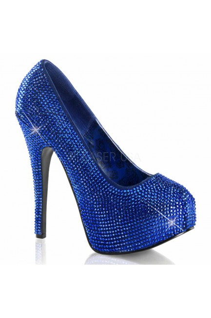 Teeze Royal Blue Rhinestone Platform Pump at Sensual Elegance Fashion, Lingerie and Shoes, Women's Sexy Clothing & Lingerie - Clubwear, Plus Size Clothing & Accessories