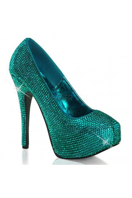 Teeze Turquoise Rhinestone Platform Pump at Sensual Elegance Fashion, Lingerie and Shoes, Women's Sexy Clothing & Lingerie - Clubwear, Plus Size Clothing & Accessories