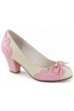 Cuban Heel Cream and Pink Wiggle Heart Pump Sensual Elegance Fashion, Lingerie and Shoes Women's Sexy Clothing & Lingerie - Clubwear, Plus Size Clothing & Accessories