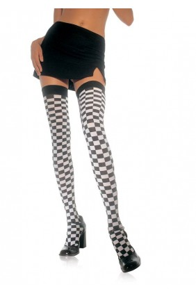 Checkerboard Thigh High Stockings Sensual Elegance Fashion, Lingerie and Shoes Women's Sexy Clothing & Lingerie - Clubwear, Plus Size Clothing & Accessories