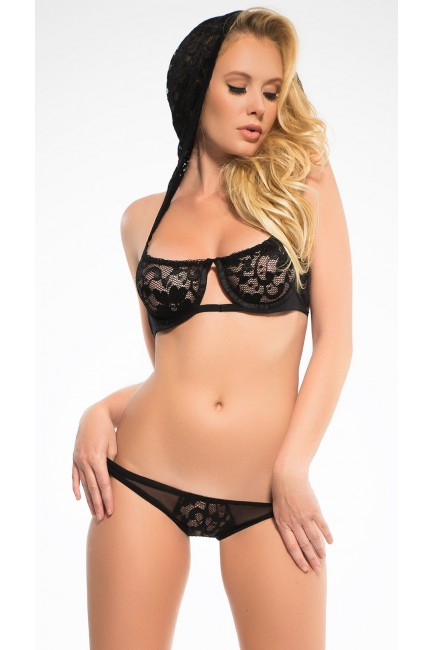 Flirty Hooded Lace Bra Set at Sensual Elegance Fashion, Lingerie and Shoes, Women's Sexy Clothing & Lingerie - Clubwear, Plus Size Clothing & Accessories