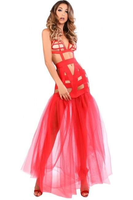 Fantasy Mermaid Red Cage Strap Gown at Sensual Elegance Fashion, Lingerie and Shoes, Women's Sexy Clothing & Lingerie - Clubwear, Plus Size Clothing & Accessories