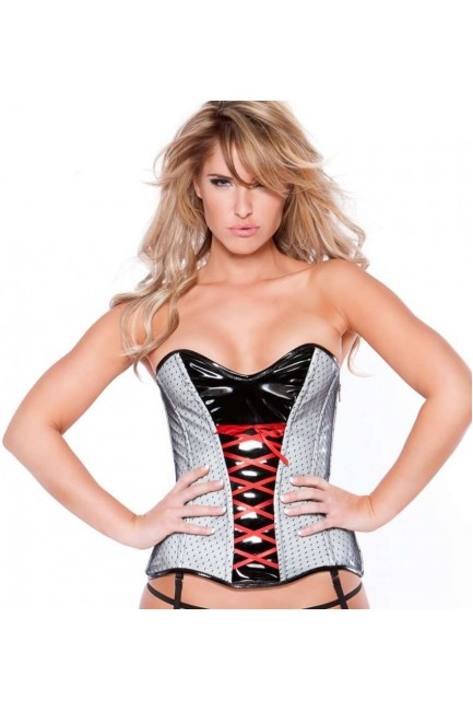 Clarissa Black and Gray Vinyl Corset at Sensual Elegance Fashion, Lingerie and Shoes, Women's Sexy Clothing & Lingerie - Clubwear, Plus Size Clothing & Accessories