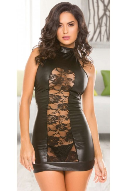 Lace Panel Halter Black Mini Dress at Sensual Elegance Fashion, Lingerie and Shoes, Women's Sexy Clothing & Lingerie - Clubwear, Plus Size Clothing & Accessories