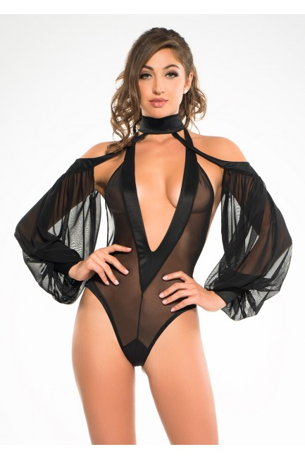 Heavenly Body Drop Sleeve Black Bodysuit at Sensual Elegance Fashion, Lingerie and Shoes, Women's Sexy Clothing & Lingerie - Clubwear, Plus Size Clothing & Accessories