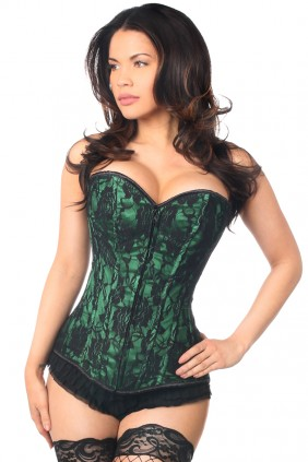 Lavish Green Lace Overlay Overbust Corset Sensual Elegance Fashion, Lingerie and Shoes Women's Sexy Clothing & Lingerie - Clubwear, Plus Size Clothing & Accessories