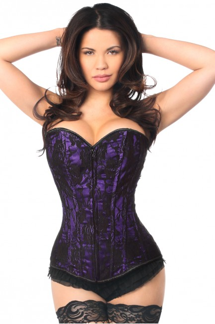 Lavish Purple Lace Overlay Overbust Corset at Sensual Elegance Fashion, Lingerie and Shoes, Women's Sexy Clothing & Lingerie - Clubwear, Plus Size Clothing & Accessories