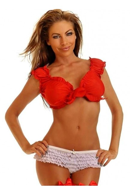 Tie Front Red Peasant Crop Top at Sensual Elegance Fashion, Lingerie and Shoes, Women's Sexy Clothing & Lingerie - Clubwear, Plus Size Clothing & Accessories