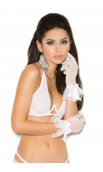 White Mesh Ruffled Gloves