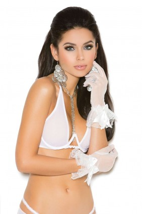 White Mesh Ruffled Gloves Sensual Elegance Fashion, Lingerie and Shoes Women's Sexy Clothing & Lingerie - Clubwear, Plus Size Clothing & Accessories