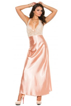 Peaches and Cream Charmeuse Satin Halter Gown Sensual Elegance Fashion, Lingerie and Shoes Women's Sexy Clothing & Lingerie - Clubwear, Plus Size Clothing & Accessories
