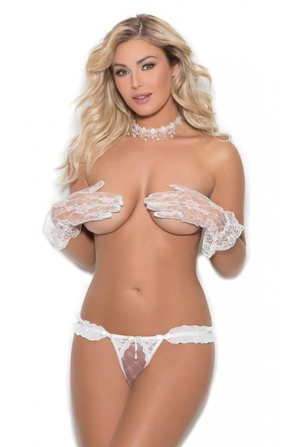 Pearled White Chiffon Crotchless Panty at Sensual Elegance Fashion, Lingerie and Shoes, Women's Sexy Clothing & Lingerie - Clubwear, Plus Size Clothing & Accessories