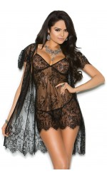 Black Lace Peignoir Set