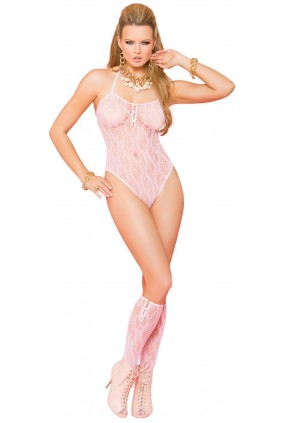 Baby Pink Lace Teddy with Stockings Sensual Elegance Fashion, Lingerie and Shoes Women's Sexy Clothing & Lingerie - Clubwear, Plus Size Clothing & Accessories