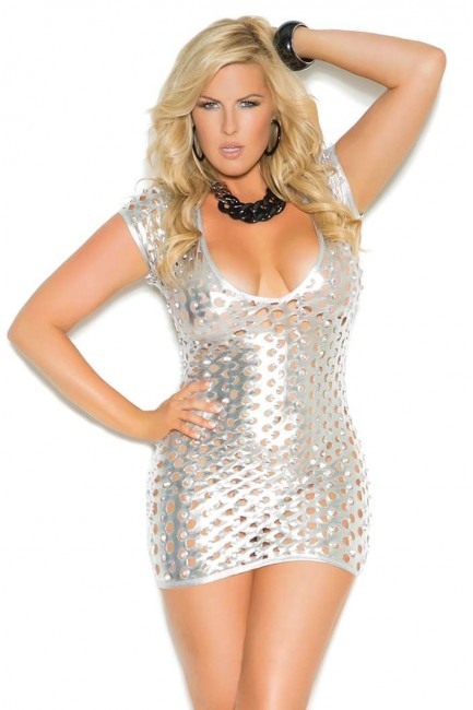 Silver Foil Lame Party Dress at Sensual Elegance Fashion, Lingerie and Shoes, Women's Sexy Clothing & Lingerie - Clubwear, Plus Size Clothing & Accessories