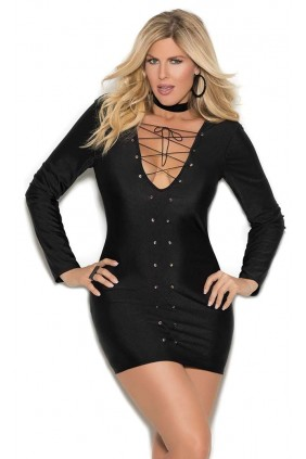 Lace Up Front Black Mini Dress Sensual Elegance Fashion, Lingerie and Shoes Women's Sexy Clothing & Lingerie - Clubwear, Plus Size Clothing & Accessories