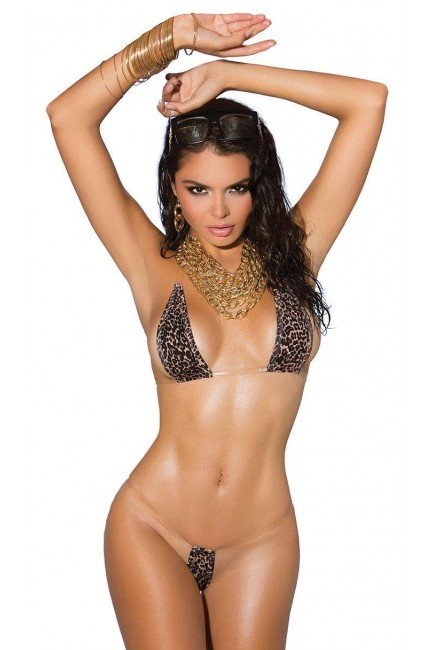 Leopard Print Skimpy Bikini with Clear Straps at Sensual Elegance Fashion, Lingerie and Shoes, Women's Sexy Clothing & Lingerie - Clubwear, Plus Size Clothing & Accessories