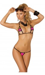 Hot Pink Micro Bikini with Black Trim