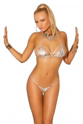 Silver Lame Teeney Bikini Sensual Elegance Fashion, Lingerie and Shoes Women's Very Sexy Lingerie & Clothing - Clubwear, Bridal Lingerie & Plus Size Lingerie