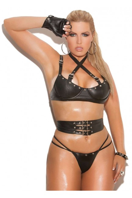 Leather 3 Piece Fetish Bra Set at Sensual Elegance Fashion, Lingerie and Shoes, Women's Sexy Clothing & Lingerie - Clubwear, Plus Size Clothing & Accessories