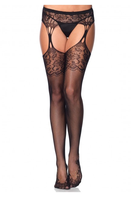 Floral Lace Net Suspender Stockings  - Pack of 3